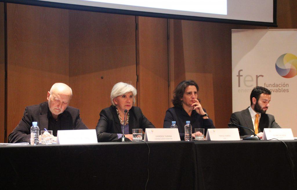 Domingo Jiménez Beltrán, Laurence Tubiana, Teresa Ribera y Álvaro Beltrán.