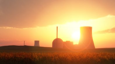 nuclear power plants in a wheat field and sunset