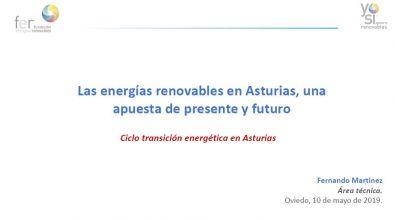 «Las Energías Renovables En Asturias». Fernando Martínez. Mayo 2019.
